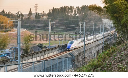 Kanazawa- March 31 : The Shinkansen bullet train network of high-speed railway lines in Japan on March 31, 2015 in Kanazawa Japan