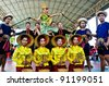 KANCHANABURI,THAILAND-DECEMBER 4: Unidentified dancers perform at the Thai Classical Dance festival, a folk arts and culture event, on Dec. 4, 2011 in Kanchanaburi, Thailand. The event is organized by the Kanchanaburi University Thailand. - stock photo