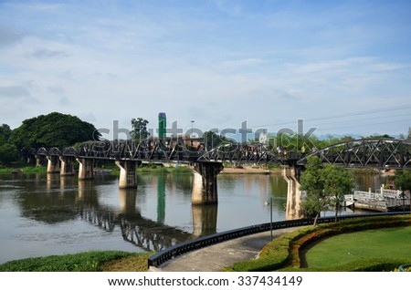 KANCHANABURI, THAILAND - NOVEMBER 2 : People travel and walking at the Bridge of the River Kwai on November 2, 2014 in Kanchanaburi, Thailand.