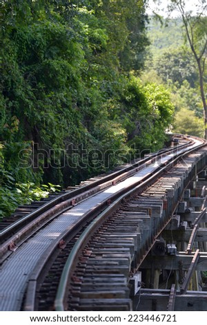 KANCHANABURI THAILAND- SEPTEMBER 10: The death railway bridge at Kanchanaburi, Thailand on September 10, 2014. It is the historic of world war ii, the death railway bridge over river.