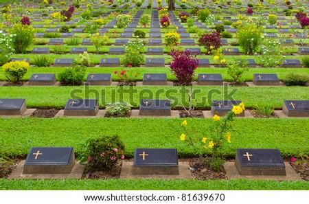 Kanchanaburi world war two cemetery in Thailand - stock photo