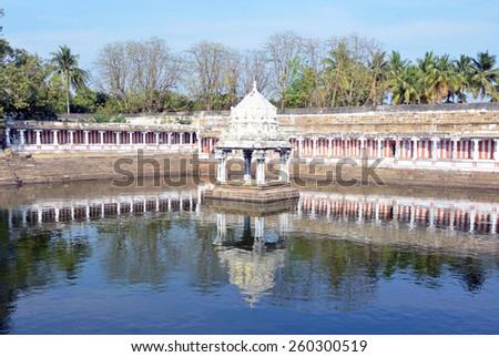 KANCHIPURAM, INDIA â?? FEBRUARY 8 2015: Ekambareswarar temple is a Hindu temple that was built around 600 AD. - stock photo