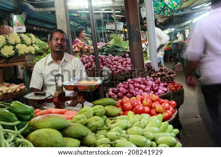 KANCHIPURAM - NOV 26: An unidentified vendor sells vegetables in a market on November 26, 2013 in Kanchipuram,Tamil Nadu, India. Tamil Nadu is the major producer of vegetables in South India.