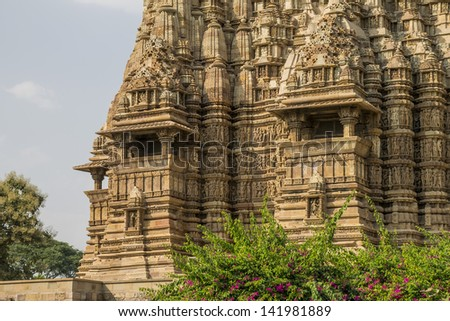 Kandariya Mahadeva Mandir (built about 1025-1050 AD) - the temple dedicated to the Hindu god Shiva. The largest of the Western Group of Khajuraho Temples. UNESCO World Heritage Site, India