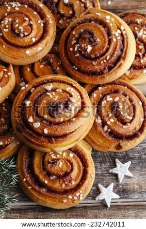 Kanelbulle - swedish cinnamon rolls - stock photo