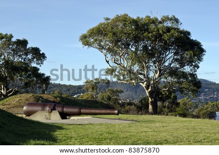 Kangaroo Bluff Battery, Bellerive, Hobart ,Tasmania, Australia.  Built in the 1880s to protect Hobart from enemy ships. The guns were placed to protect Hobart from the Russians and were never fired. - stock photo