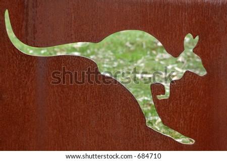 Kangaroo cutout sign. - stock photo