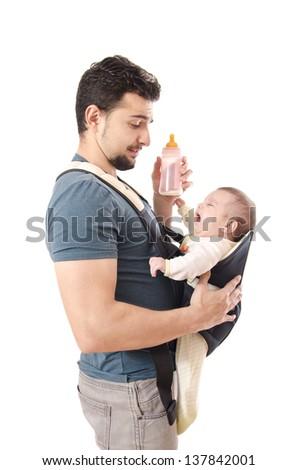 Kangaroo father and little baby - stock photo
