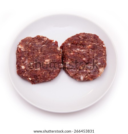 Kangaroo meat burgers isolated on a white studio background. - stock photo