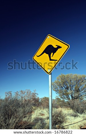 Kangaroo Road Sign - stock photo