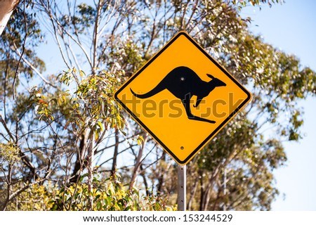 Kangaroo road sign in Australia - stock photo