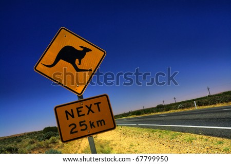 Kangaroo Sign in South Australia - stock photo