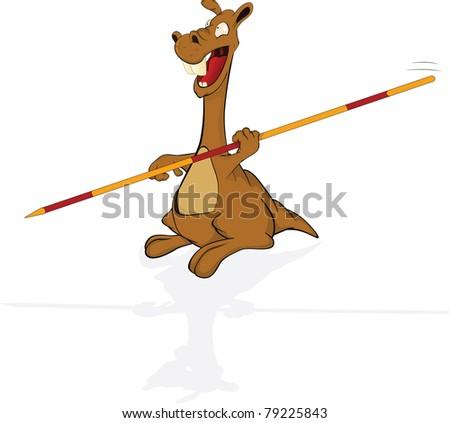 Kangaroo the sportsman. High jumps with a pole. Cartoon - stock photo
