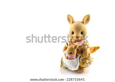 kangaroo toy mother and baby background - stock photo