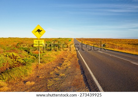 Kangaroo traffic sign - stock photo