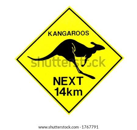 Kangaroo Warning Sign - stock photo
