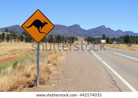 Kangaroo warning sign and fire restrictions in Flinders Ranges National Park, Australia - stock photo