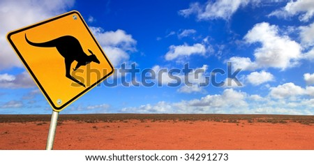 Kangaroo warning sign in the Australian outback.  Western New South Wales, near Broken Hill. - stock photo