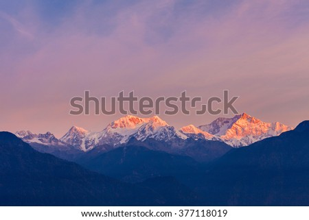 Kangchenjunga sunrise view from the Pelling viewpoint in Sikkim, India - stock photo