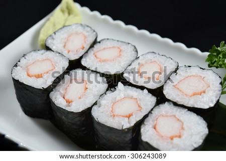 Kani maki sushi rolls - japanese food style - stock photo
