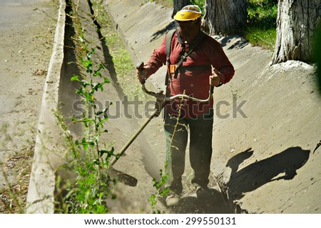 KANIV, UKRAINE - JULY 23, 2015: A Ukrainian man cutting grass with a grass cutter along the road..