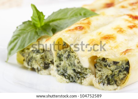 Kannelloni with spinach and ricotta baked in sauce bechamel - stock photo