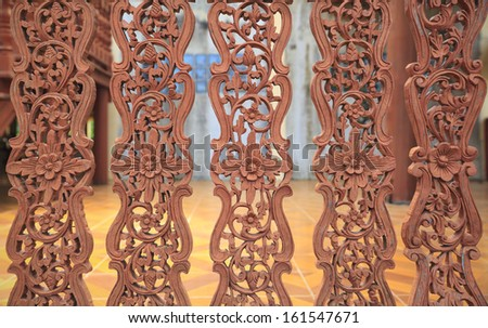 Kanok background as wooden fence - stock photo