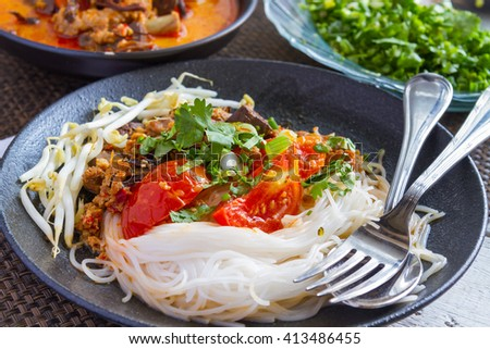 Kanom Jeen is a food that has been very popular in Thailand and healthy. - stock photo