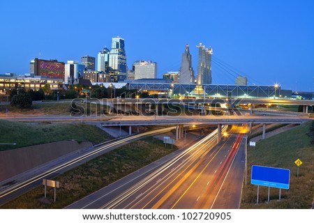 Kansas City. Image of the Kansas City skyline and busy highway system leading to the city. - stock photo