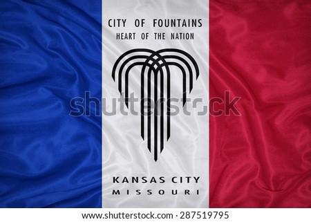 Kansas City ,Missouri flag on fabric texture,retro vintage style - stock photo