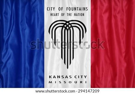 Kansas City ,Missouri flag pattern on fabric texture,retro vintage style - stock photo