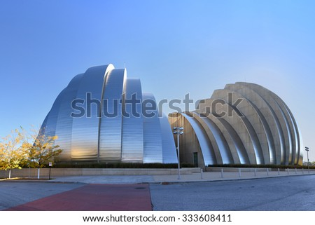 KANSAS CITY, MO - OCTOBER 11: Kauffman Center for the Performing Arts building in Kansas City, Missouri. Designed by Moshe Safdie and completed in 2011 as an example of Structural Expressionism. - stock photo