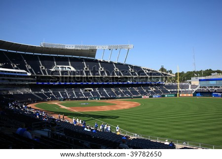 KANSAS CITY - SEPTEMBER 27: KC Royals fans await a late season contest with the Minnesota Twins at recently remodeled Kauffman Stadium on  September 27, 2009 in Kansas City. - stock photo