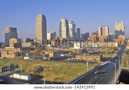 Kansas City skyline at sunrise, MO - stock photo