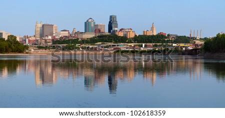 Kansas City skyline panorama. Panoramic image of the Kansas City downtown district. - stock photo