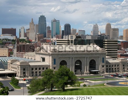 Kansas City skyline with Union Station in the foreground. - stock photo