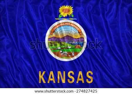 Kansas flag pattern on the fabric texture ,vintage style - stock photo