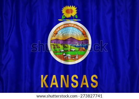 Kansas flag pattern with a peace on fabric texture,retro vintage style - stock photo