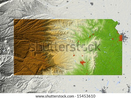 Kansas. Shaded relief map, with major urban areas and rivers, surrounding territory greyed out. Colored according to elevation. Clipping path for the state area included. Data source: NASA - stock photo
