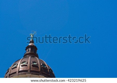 Kansas State Capitol Building Dome and Statue - stock photo