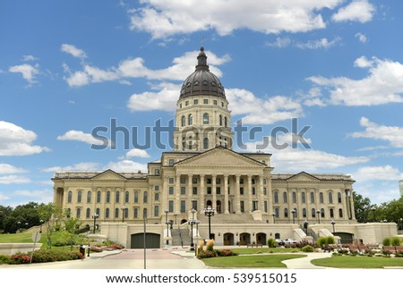 Kansas State Capitol in Topeka during bright day