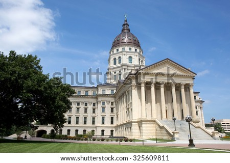 Kansas State Capitol located in Topeka, Kansas, USA. - stock photo