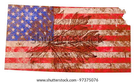 Kansas state of the United States of America in grunge flag pattern isolated on white background - stock photo