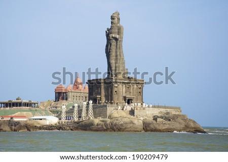KANYAKUMARI, INDIA - FEB 1, 2012: The Thiruvalluvar Statue, Kanyakumari, Tamil Nadu India is of the Tamil poet, philosopher and author of the Thirukkural. It is at the southern most tip of India. - stock photo