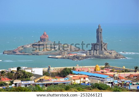KANYAKUMARI, INDIA - FEBRUARY 2, 2015:  Vivekananda Rock Memorial is a monument that  was built in 1970.It stands on one of two rocks located a few hundred meters offshore. - stock photo