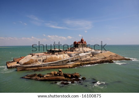 Kanyakumari, the most southern point of india where two oceans come together - stock photo
