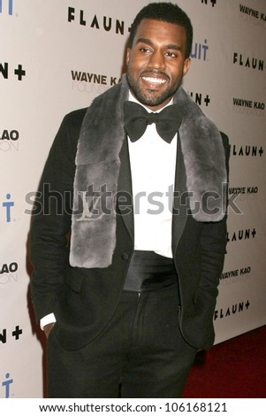 Kanye West   at Flaunt Magazine's 10th Anniversary Party And Holiday Toy Drive. Wayne Kao Mansion, Homby Hills, CA. 12-18-08 - stock photo