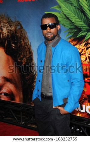 """Kanye West  at the Los Angeles Premiere of """"Pineapple Express"""". Mann Village Theater, Westwood, CA. 07-31-08 - stock photo"""