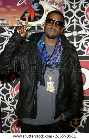 Kanye West attends the in-store signing of his new release 'Graduation' held at the Virgin Megastore Hollywood & Highland in Hollywood, California, United States on September 13, 2007.  - stock photo