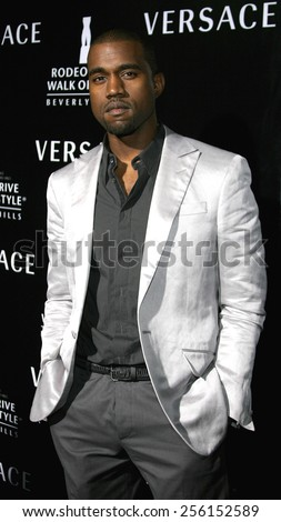 Kanye West attends the Rodeo Drive Walk Of Style Award honoring Gianni and Donatella Versace held at the Beverly Hills City Hall in Beverly Hills, California on February 8, 2007.  - stock photo